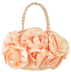Flower Pattern Pink Pearl Beaded Handle Handbag by Clutch