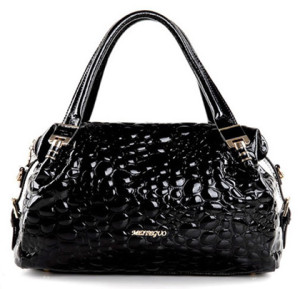 Black Color Beaded Leather Handbag