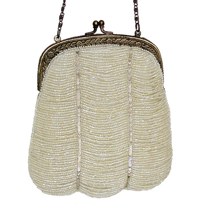 White Color Gorgeous Looking Beaded Handbag