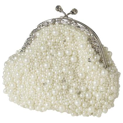 Exquisite White Beaded Vintage Bridal Purse