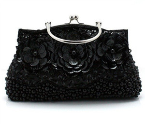 Exquisite Black Flower Shaped Sequin Beaded Purse by Clutch