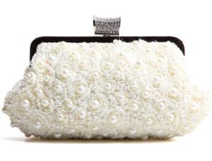 White Color Diamond Beaded Cute Wedding Handbag