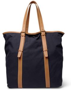 Navy Dark Blue Leather Stripe Designer Canvas Tote Bag