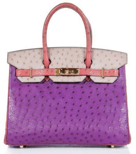 Pretty  tricolor ostrich horse shoe birkin bag