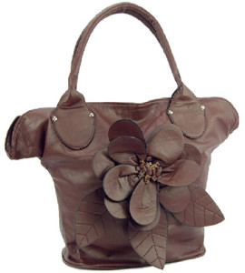 Large Brown Color Flower Designer Purse
