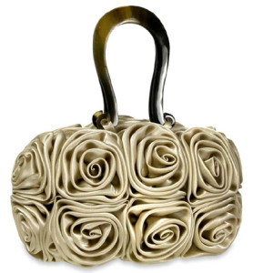 Charming Ivory Rosette Designer Evening Bag