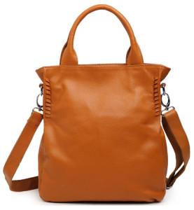 Brown Bucket Design Leather Handbag