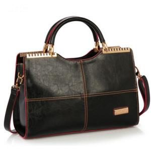 Enchanting Border Stitched Leather Shoulder Handbag