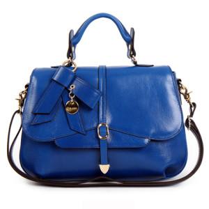 Glamorous Blue Color Original Leather Shoulder Tote
