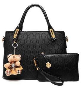 Black Nice Pattern Design Tote Shoulder Handbag